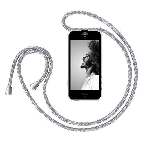ZhinkArts Handykette kompatibel mit Apple iPhone 5 / 5S / SE (2016) - Smartphone Necklace Hülle mit Band - Handyhülle Case mit Kette zum umhängen in Weiß - Silber