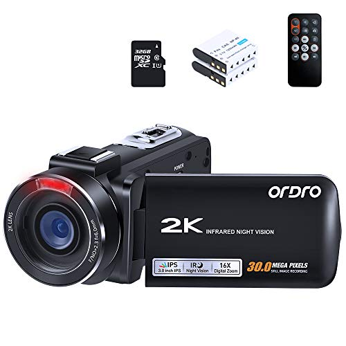 Video Camera 2K Camcorder ORDRO HDV-Z63 QHD 2K 30fps 30MP WiFi Camera Recorder Infrared Night Vision Digital Cameras YouTube Vlogging Camcorders with 32GB MicroSDHC Card and 2 Batteries