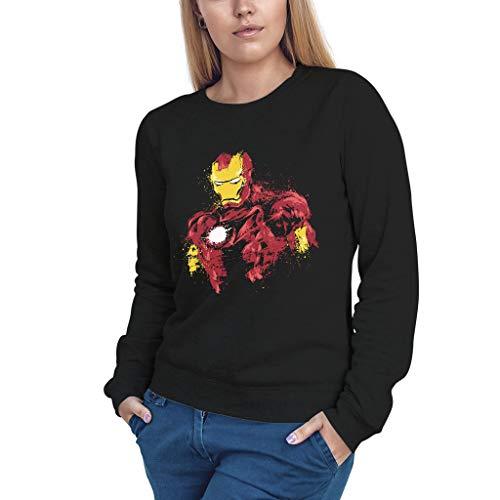 Fanta Universe Iron Man Ink - Sudadera Mujer - 50% Algodón (M, Negro)