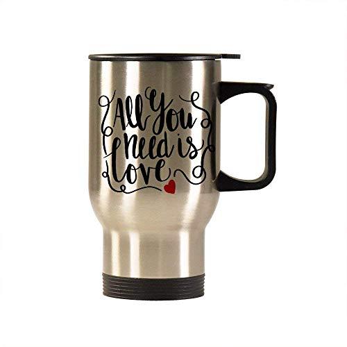 Alles wat je nodig hebt is Liefde Reizen Mok Geïsoleerde Tumbler Koffie Mok Nieuwigheid Mok Beker Verjaardag Kerstmis Verjaardag Gag Geschenken Idee, 14 Oz, Sliver