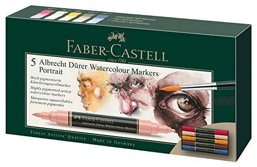 Faber-Castell 160307 - Rotulador de acuarela Albrecht Dürer con doble punta para una aplicación precisa y plana de color, 5 unidades, retrato, multicolor