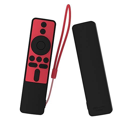 Capa de silicone SIKAI para controle remoto XIAOMI MI Box S à prova de choque capa protetora macia para MIBOX S Remote Friendly Anti-perda com controle remoto (preto + vermelho)