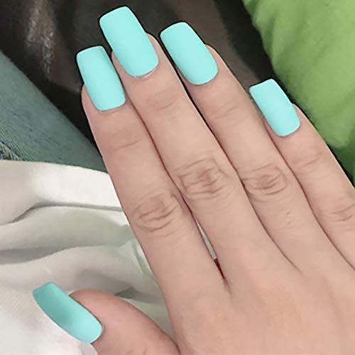 Brishow - Puntas de uñas de grano mate Diseño de arte de portada completa 24 piezas Uñas postizas para mujeres y niñas Verde claro