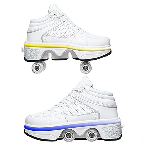 Doble Rodillo Zapatos De Skate Zapatos Invisible De Polea De Zapatos Zapatillas De Deporte Luz Zapatos Zapatos Multiusos, Niños Zapatos con Ruedas Led Luces