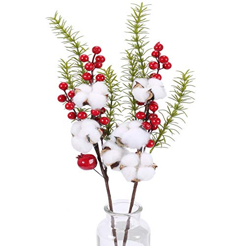HO2NLE 2Pcs Christmas Picks Red Berry Stems Branches Dried Cotton Stems Fake Cotton Flower Christmas Flowers Arrangement Xmas Flowers DIY Home Party Wedding Floral Decoration