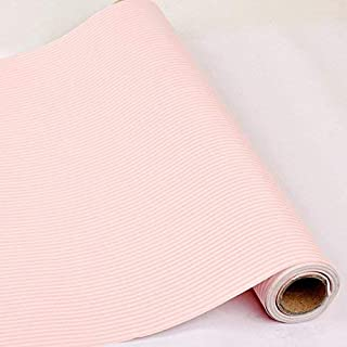 HOYOYO 17x78 inches Self-Adhesive Shelf Liner, Moisture Proof Dresser Drawer Paper Shelf Liner Mildew Proof Antifouling Contact Paper, Pink White Stripes