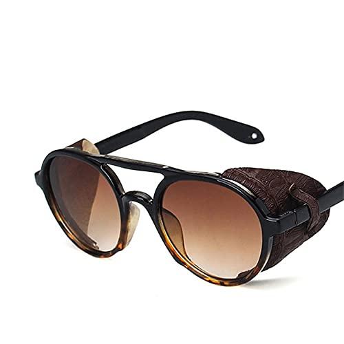 Astemdhj Gafas de Sol Sunglasses Gafas De Sol Punk para Hombres Gafas De Sol De Lujo para Hombres/Mujeres Gafas De Sol Vintage De Diseñador Hombres Punk Lunette Soleil Homme BlaAnti-UV