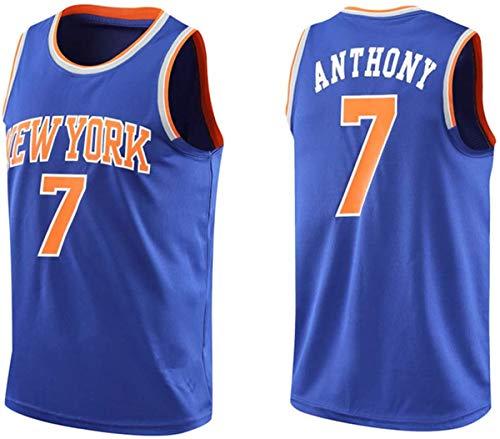 ATI-HSKJ NBA Basketball Maglie, New York Knicks Carmelo Anthony 7# Maglie Respirabile Freddo Tessuto Swingman Maniche Canotta Abbigliamento,B,XL(180~185cm/85~95kg)