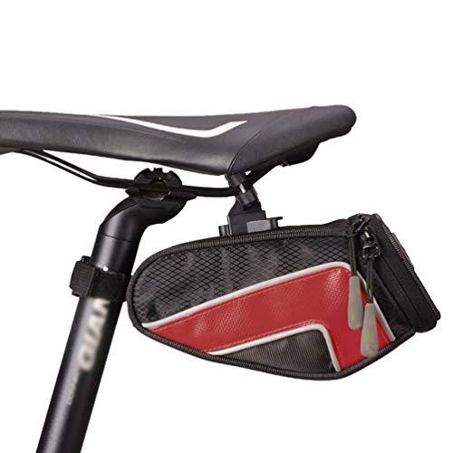 SACOCHES Sac de Selle de VéLo ÉTanche, Sac de Queue en Nylon de Bicyclette Sac de SièGe ArrièRe de VéLo de Montagne Accessoires de Sac de Selle,Red,S