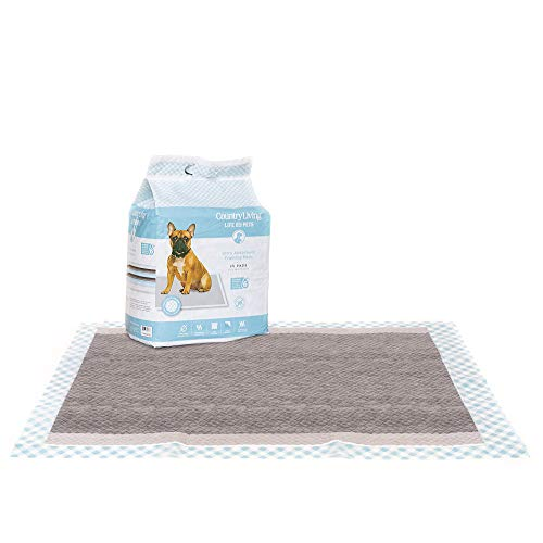 Silver Paw Country Living Dog Training Pad with Bamboo Charcoal Technology, Puppy Pee Pads for Dogs, Absorbs and Neutralize Odors Instantly, 25 Count (23.5 x 31.5 Inches)