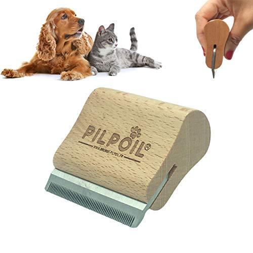 pilpoil Brosse etrille Anti-Poils Chien/Chat/Cheval/Lapin Anti-mue, élimine 95% sous Poil Mort - Deshedding - Peigne Magique Anti-Poils - Outil de toilettage Pro Bois Naturel/Ergonomique