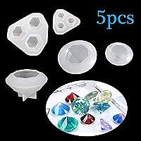FineInno ダイヤモンド形 宝石 ダイヤ シリコンモールド アクセサリー ハンドメイド UV レジン型 DIY 手作り 5セット (ダイヤモンド形)