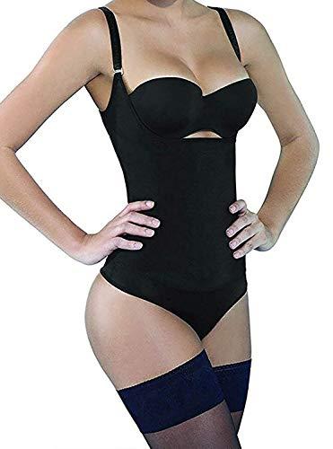 SHAPERX Womens Fajas Colombianas Open Bust Bodysuits Tummy Control Postparto Postpartum Thong Body Shaper, SZ7095-Black-M