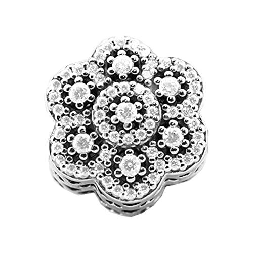 Pandora 925 Sterling Silver DIY Jewelry CharmCristalizado amuleto floral perlas transparentes para la fabricación de joyas adecuado para pulseras