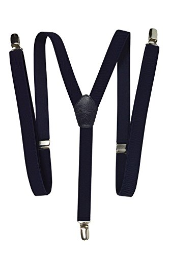 Olata Hosenträger mit 3 Clips - Modell 'Skinny' 2cm. Marineblau