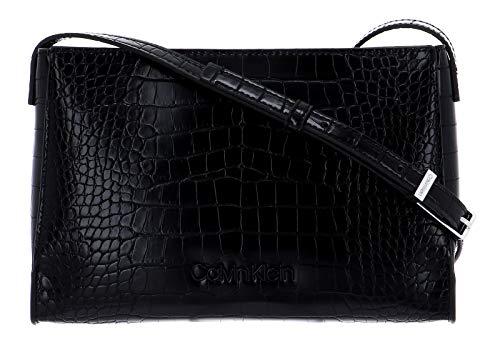 Calvin Klein Winged EW Crossbody Croco Black
