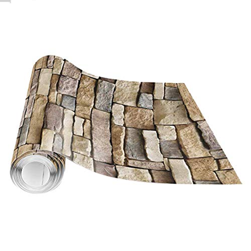 ☀ Dergo ☀ 3D Wall Paper Brick Stone Rustic Effect Self-adhesive Wall Sticker Home Decor