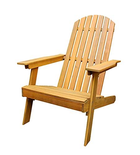 Muebletmoi Sand 5149 - Sillón de jardín relax de madera de acacia con reposabrazos