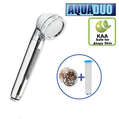 For Sale! AquaDuo Ionic Filtered Portable Shower Head: 2 Filters Included: Fluoride & Chlorine Remov...