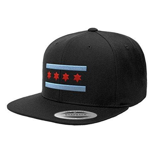 Chicago Flag Hats B Illinois Premium Classic Snapback Yupoong Flexfit 6089 (Black)