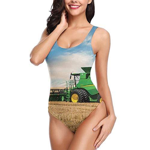 Farm Tractor Ladies One-Piece Swimsuit Sexy Halter Beach Party Swimwear
