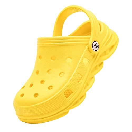 BODATU Zapatos clásicos para niños y niñas, con gráficos, para el jardín, color Amarillo, talla 19 EU