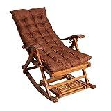 ZR- Bambus Loungesessel Tragbar Klappbarer Schaukelstuhl Mit Kissen Und Fußmassage Garten Garten Gartenstuhl Balkon Alter Mann Siesta Stuhl (Color : Brown)