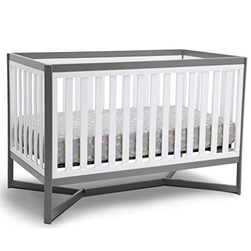 Delta Children Tribeca 4-in-1 Baby Convertible Crib, White/Grey