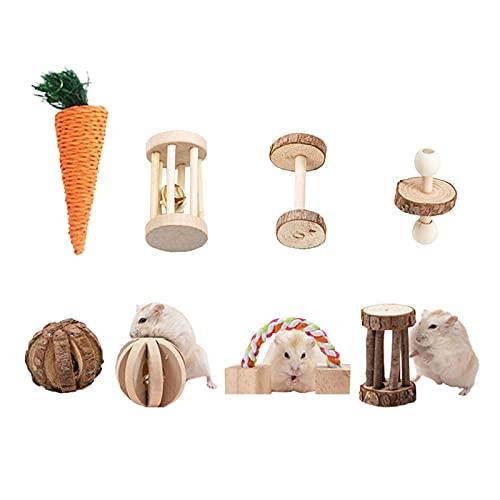 biteatey Juguete para masticar para hámsters, 8 12 unidades, juguete para masticar, campana, rodillo para dientes, cuidado molar, juguete para conejos, ratas, ratas y jerbos