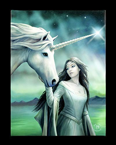 Fantasy-Bild Elfe mit Einhorn auf Leinwand gedruckt - North Star | Wandbild, Motiv von Anne Stokes, 19x25 cm