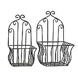 Home Collection Casa Decorazione Accessori Giardino Terrazza Set di 2 Portavasi per Piante in Ferro Battuto Nero