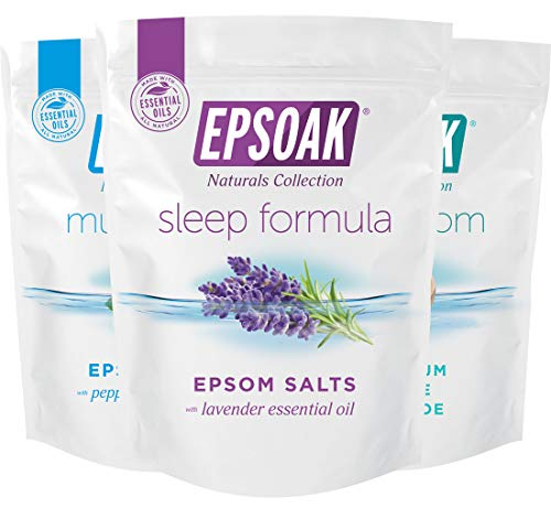 Ultimate Epsoak Epsom Salt Bath Soak Bundle (6 lbs. Total) – Sleep Formula Bath Salt, Muscle Soak Bath Salt, Original Unscented Epsom Salts