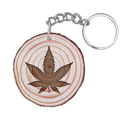 Llavero Marihuana Personalizado por Su Cara Trasera - Llavero Cannabis Personalizable Regalo Grabado En Madera