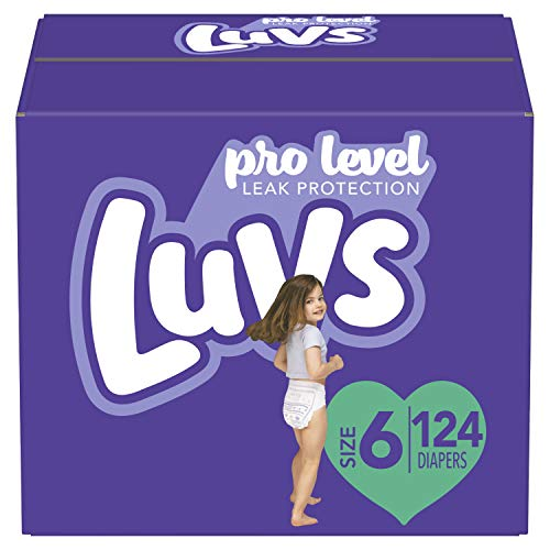 Diapers Size 6, 124 Count - Luvs Ultra Leakguards Disposable Baby Diapers, ONE MONTH SUPPLY