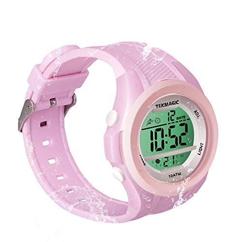 Reloj de pulsera impermeable para niñas, 10 ATM, con función de cronómetro, cronógrafo, alarma, doble huso horario, formato 12/24 horas