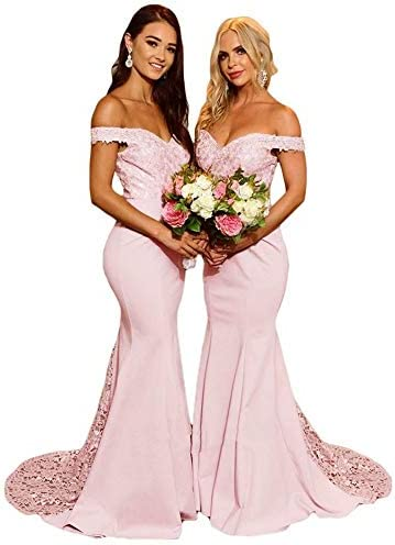 Mermaid Bridesmaid Dresses for Women Party Off The Shoulder Long Evening Gown Lace Applique product image