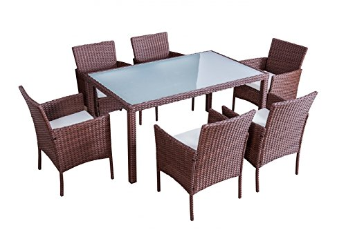 Jet-line Gartenmöbel Mexiko braun Essgruppe Rattan Essgruppe sechs Stühle + Tisch aus hochwertigem Polyrattan