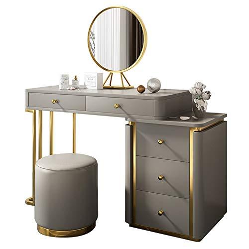 Schminktisch Bänke hocker Frisierkommode Set, Makeup Schminktisch mit 5 Schubladen, beleuchtetem Spiegel und Make-up-Spiegel, Mädchen Schlafzimmermöbel 100x40x75cm