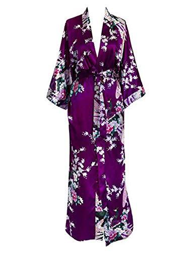 Generic Brands Tallas Grandes XXXL Mujeres Vestido Largo Albornoz Flor Kimono Pavo Real Albornoz Novia Dama de Honor Albornoces de Boda Ropa de Dormir Sexy Bata Mujer