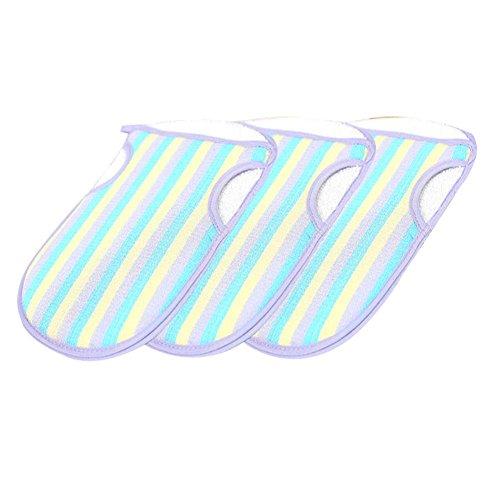 3 pièces gants exfoliants double face gants de douche gants de bain couleur aléatoire