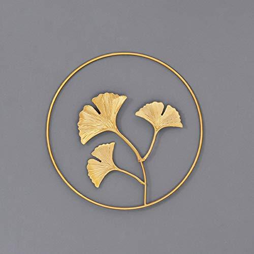 Phoetya Home Decoration Ginkgoblatt Wanddekoration Wohnzimmer Eisen Gold Dreidimensionale Wandbehang Dekorative Malerei (Gold 4)