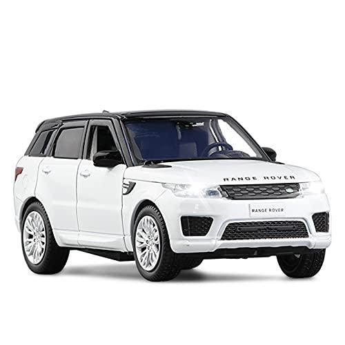 JYSMAM Modelo de coche de simulación 1:32 de aleación de fundición a presión modelos de coche para Range Rover Sports SUV Simulación Sonido y Luz Pull Back Toy (Color: Blanco)