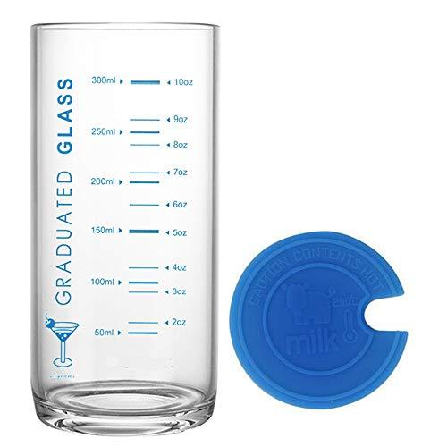 TAMUME 330ML Vaso y Taza de Cristal para Leche con Medidas,Vaso con Medidas y Tapa de Silicona Azul