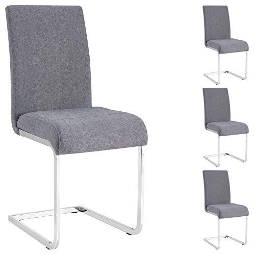 IDIMEX Schwingstuhl Esszimmerstuhl Freischwinger Stuhl Leticia, mit Stoffbezug in grau, im 4er Pack
