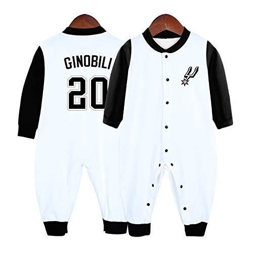 LDLXDR Maillot de Basket-Ball pour bébé 0-15 mois Combinaison Cardigan pour bébé James Bryant,Black+White-4,66cm