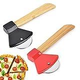 2 Pcs Rotella Tagliapizza,Taglierina per Pizza in Acciaio Inossidabile Creativo Ascia, Affettatrice per Pizza da Cucina, Rotella Pizza con Salvalama e Manico Bambu( Nero,Rosso)