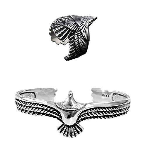 Eagle Bracelets for Men Eagle Cuff Bracelet Vintage Rock Punk Bangle Cuff Wristband Bracelet Open Ended Bangle for Men Women (Silver Bracelet&Ring)