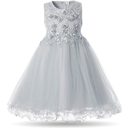 CIELARKO Mädchen Kleid Prinzessin àrmellos Blumen Hochzeits Festzug Kleid Blumenmädchen Kleider, Grau, 2-3 Jahre