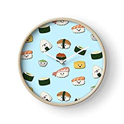 Fish Chibi Emojis Food Japanese Cute Japan Sushi Wall Clock Excellent Accurate Sweep Movement Glass Cover, Decorative for Kitchen, Living Room, Bathroom, Bedroom, Office