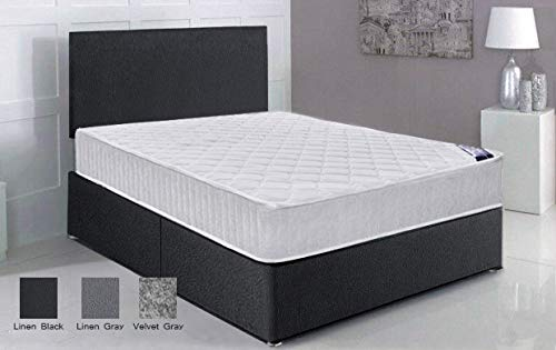 Panana Black Linen Fabric 5FT King Size Divan Bed Set With Spring Mattress And Headboard (Black Fabric, 5FT 0 Drawer)